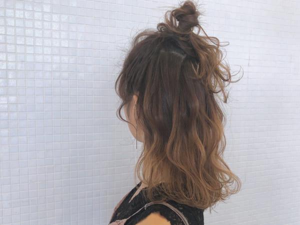 ミディアムのまとめ髪③ハーフアップ5