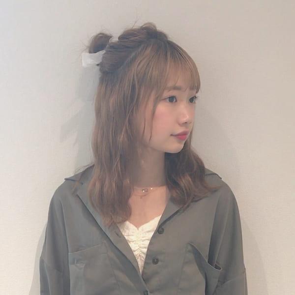 ミディアムのまとめ髪③ハーフアップ6