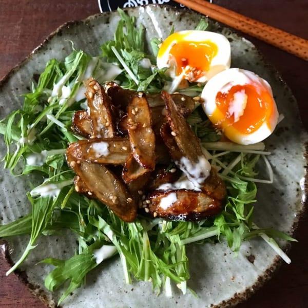 カリカリ揚げごぼうと水菜と半熟卵のサラダ