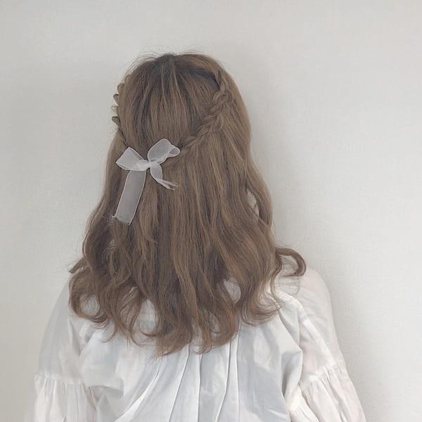 ミディアムのまとめ髪③ハーフアップ8