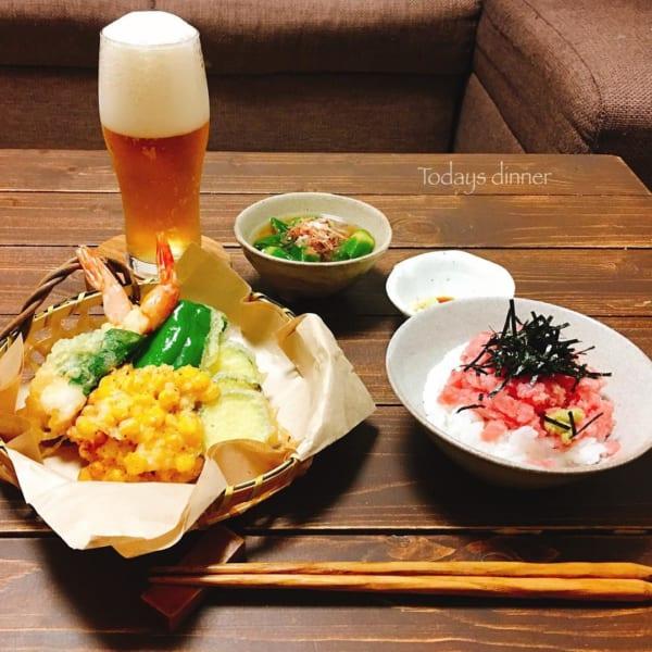 海老大葉巻き&夏野菜天ぷら
