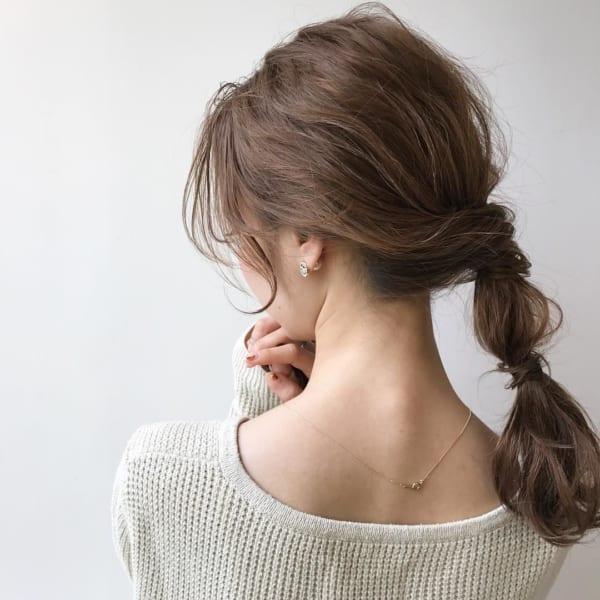 ミディアムのまとめ髪①ポニーテール2