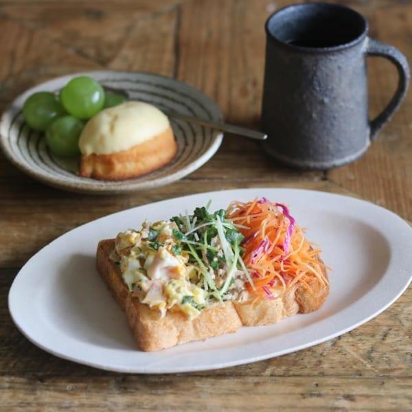 3種類のサラダオープンサンドトースト