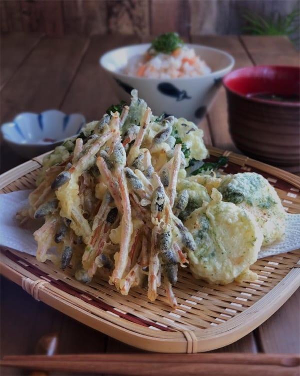 つくし・長芋・菜の花の天ぷら