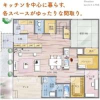 キッチンを中心に暮らす、各スペースがゆったりな間取り。