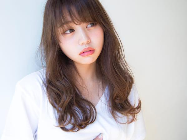 40代の【ロングヘア】×前髪あり アシメバング2