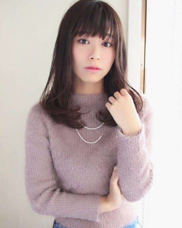 40代の【ロングヘア】×前髪あり ぱっつん前髪2