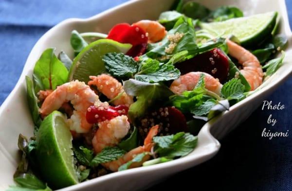 ミント香る海老とキヌアのサラダ
