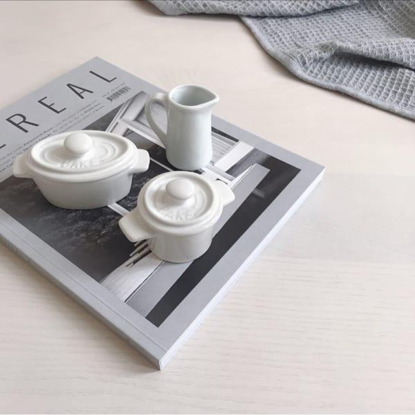 セリア オーバル&丸型のココット・ミルクピッチャー
