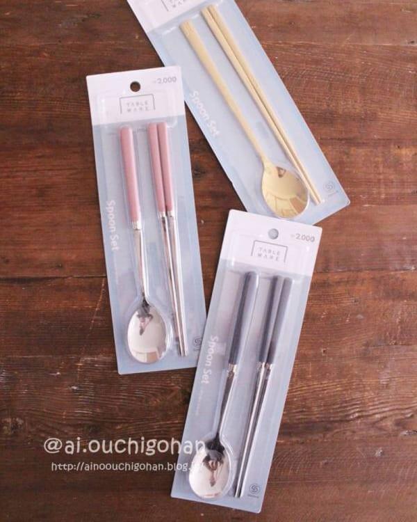 韓国ダイソーで売っているスプーン箸セット