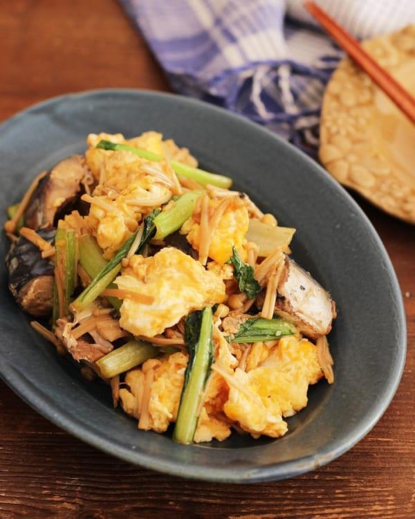 鯖と小松菜のオイスター炒め