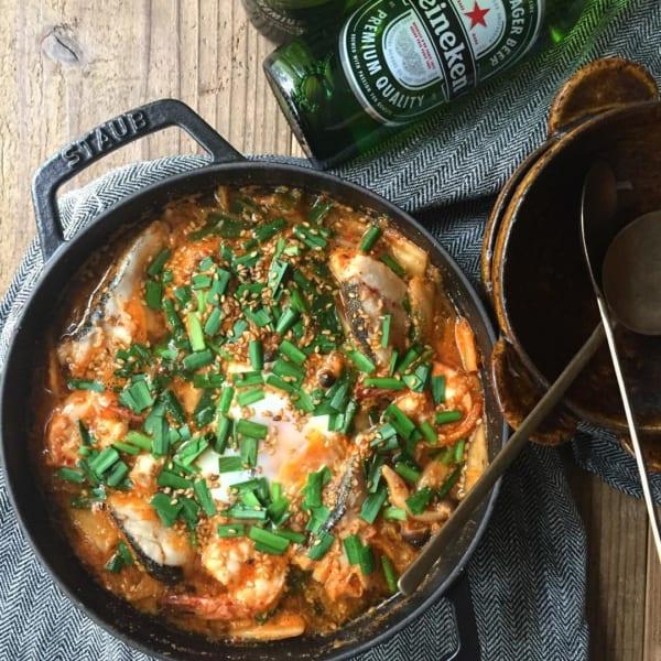 海鮮胡麻キムチチゲスープ