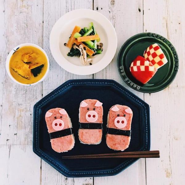スパムの豚さんおにぎり