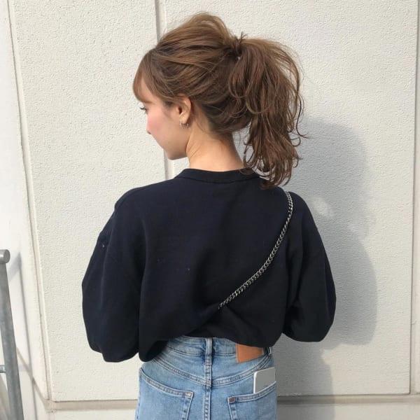 ミディアムのまとめ髪①ポニーテール7