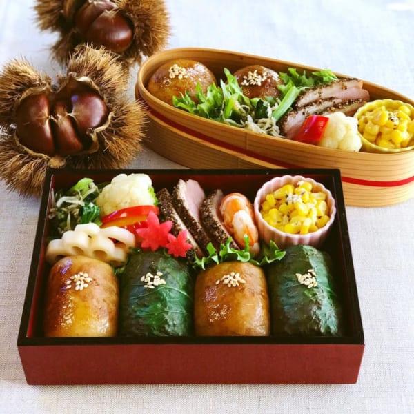 肉巻きと小松菜のおにぎり弁当