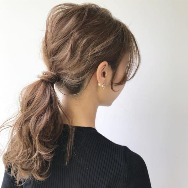 ミディアムのまとめ髪①ポニーテール8