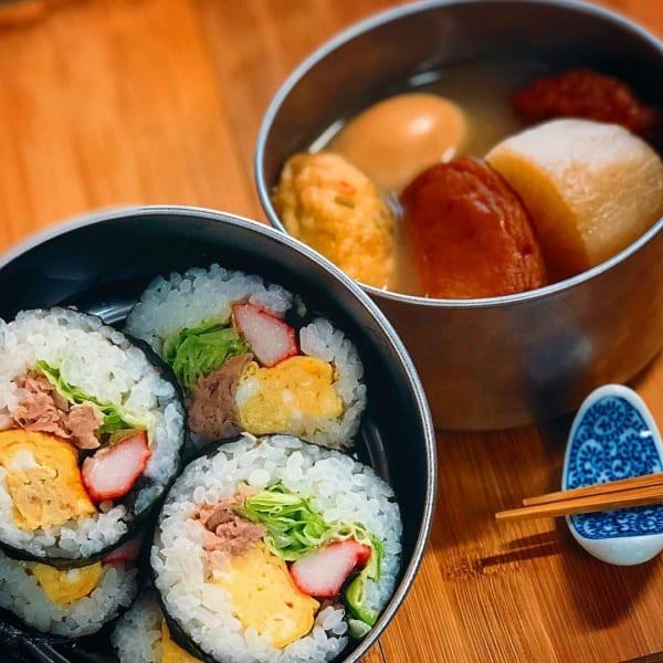 のり巻きとおでんの日本弁当