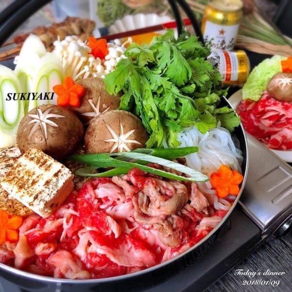 焼き豆腐と牛肉のすき焼き