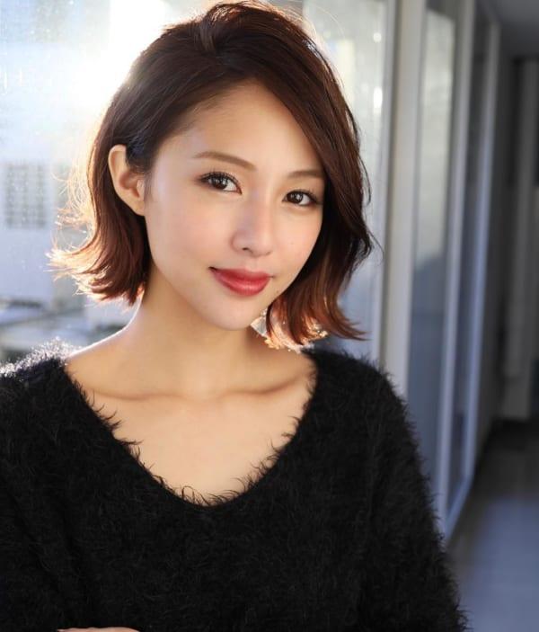 40代の【ショートヘア】×前髪なし ショートボブ2