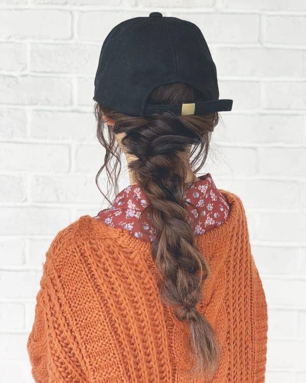 ロングヘアのまとめ髪①ポニーテール・編み込み9