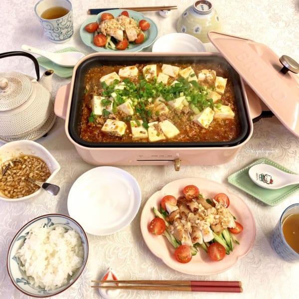 麻婆豆腐もホットプレートで