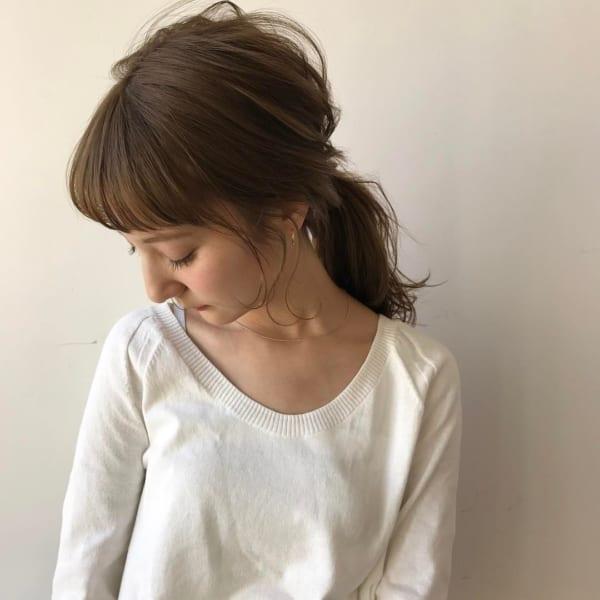 ミディアムのまとめ髪①ポニーテール9