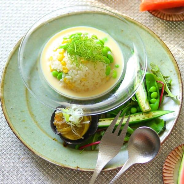 トウモロコシと枝豆ご飯!豆乳ポタージュがけ