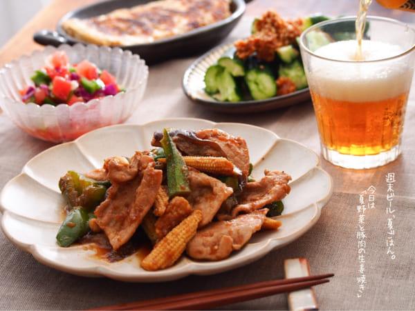 夏野菜と豚肉の生姜焼き