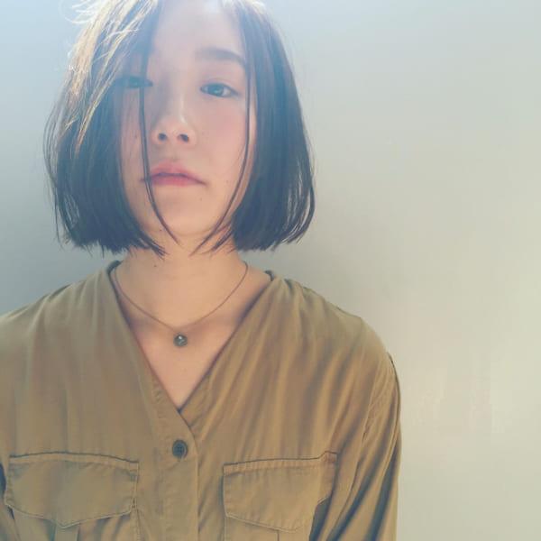 黒髪×ショートボブストレート 丸顔5