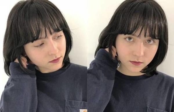 黒髪×ショートボブストレート 面長6