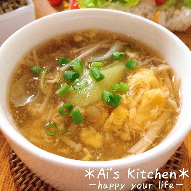 たまごとえのきの中華スープ