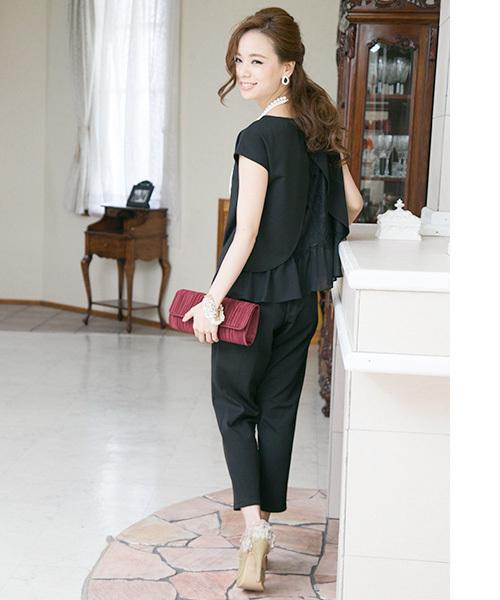[PourVous] \西山茉希さん着用/バックフリルパンツセットアップパンツドレス・パーティードレス
