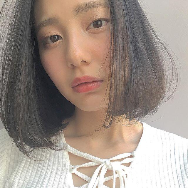黒髪×ショートボブストレート 面長3
