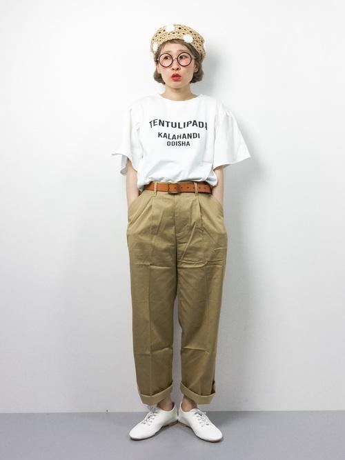 [haco!] ありそうでない定番 ベルト付きワイドチノパンツ by que made me