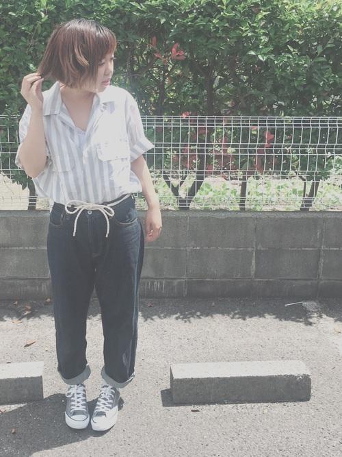 【ユニクロ】のストライプシャツ・ブラウスコーデ6
