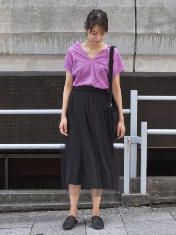 夏の黒スカートコーデ5