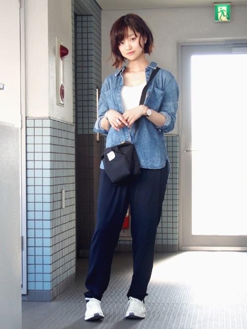 《初秋》気温27度の服装:パンツスタイル 曇り2