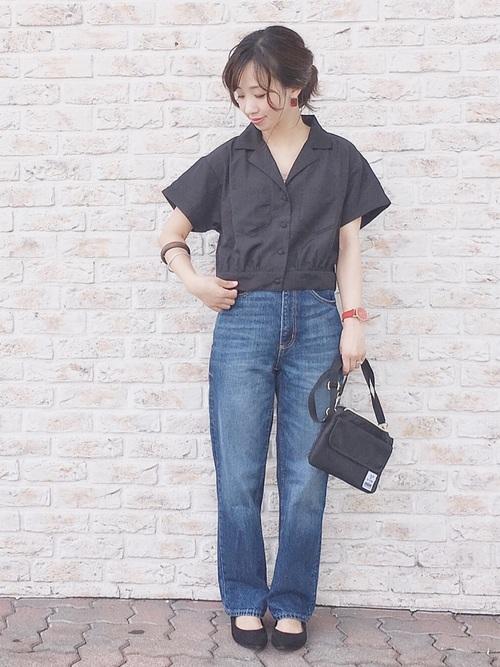黒 開襟シャツ コーデ3