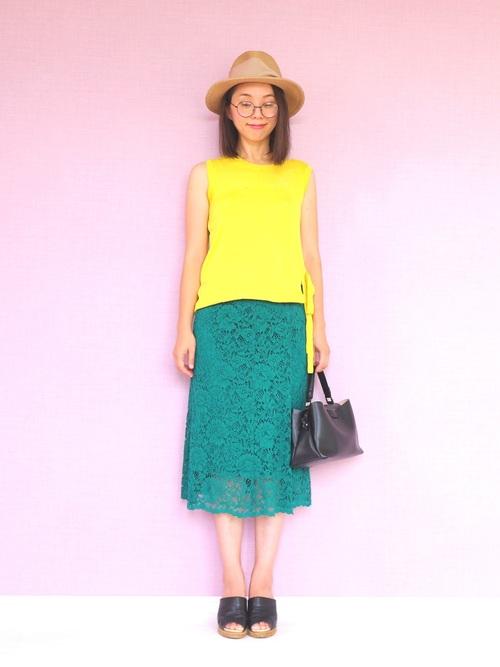 夏のグリーンスカートコーデ3
