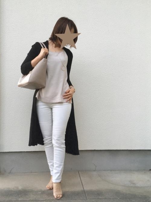 白 デニムパンツ コーデ5