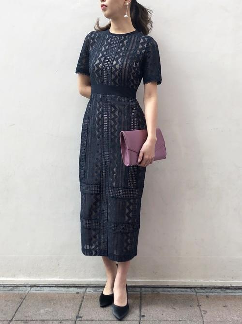 [LAGUNAMOON] LADYジオメトリックレースドレス