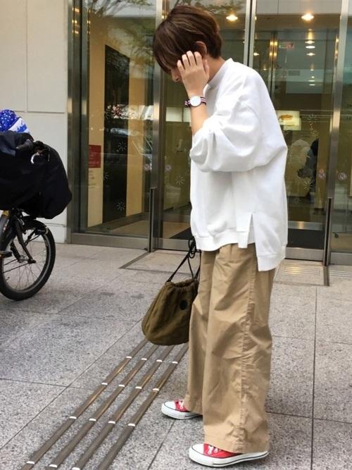 【ユニクロ】ベージュワイドパンツコーデ16