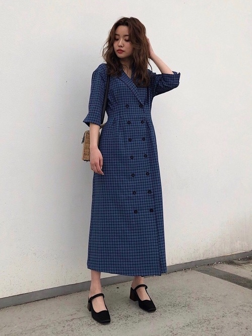 8[MOUSSY] TAILOR COLLAR CHECK SHIRTDRESS