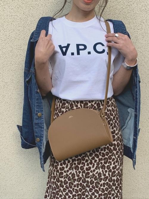 レオパードスカート ロゴTシャツ