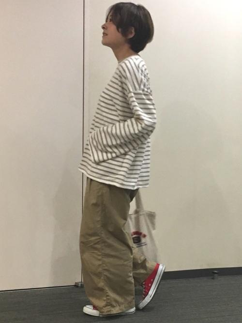 【ユニクロ】ベージュワイドパンツコーデ15