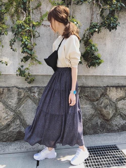 38[RETROGIRL] 柄ティアードスカート