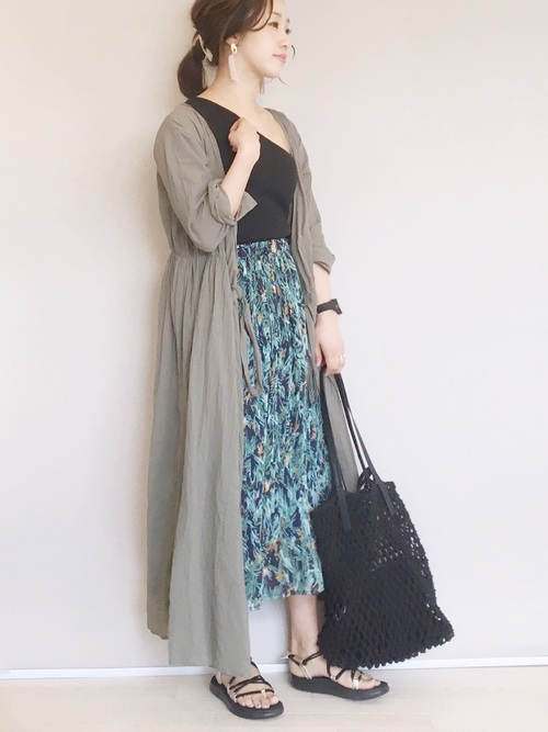 [FREDY&GLOSTER] ボタニカル柄プリーツスカート