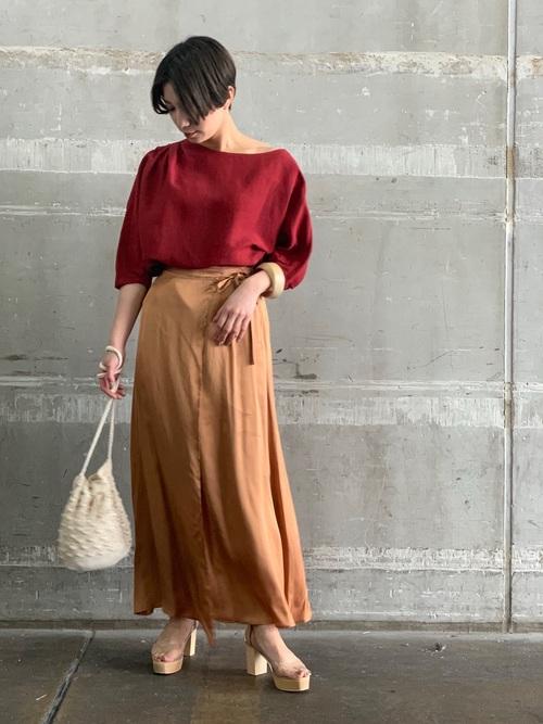 [LAGUNAMOON] サテンラップショルダースカート
