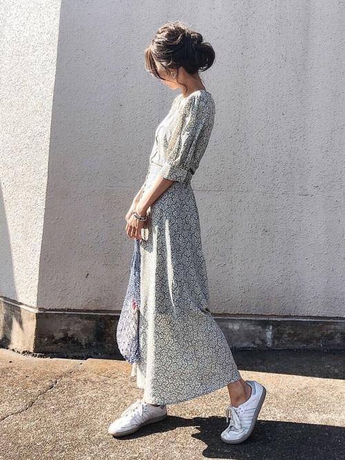 リーフプリントブラウス&スカート