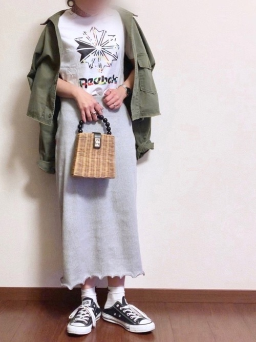 21[reca] リブメローバックスリットストレッチタイトスカート